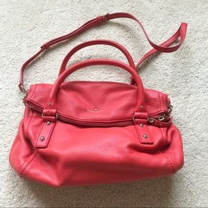 Kate Spade Cherry Red Foldover Pebbled Leather Bag